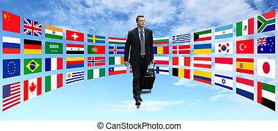 viagem, internacional, homem negócios