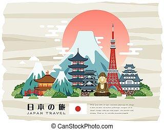 viagem, japão, atraente, cartaz