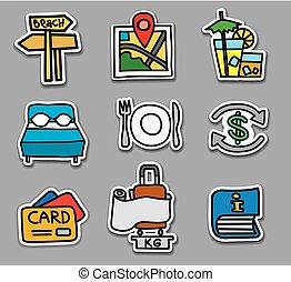 viagem, jogo, adesivos, emblemas