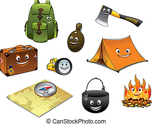 viagem, jogo, caricatura, acampamento, ícones