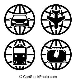viagem, jogo, transporte, ícones