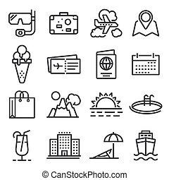 viagem, jogo, turismo, ícone