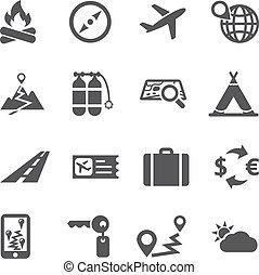viagem, jogo, turismo, vector., ícone