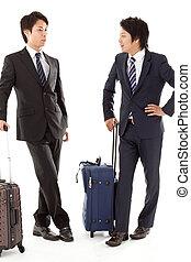 viagem, jovem, negócio, homens negócios