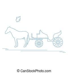viagem, leaf., carvalho, ilustração, carruagem, vetorial, leisure., horse-drawn