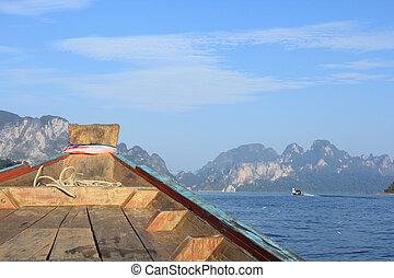 viagem, ligado, a, bote