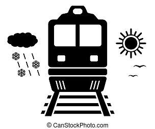 viagem, ligado, trem, isolado, símbolo