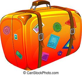 viagem, mala, com, adesivos