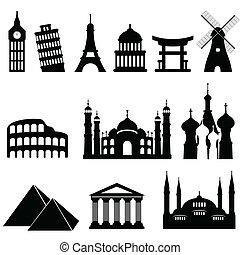 viagem, marcos, monumentos