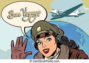 viagem, mulher, retro, bon, menina, aviador, piloto