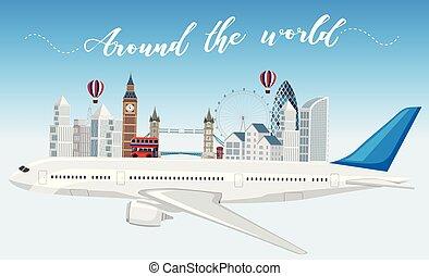 viagem mundial, ao redor