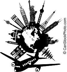 viagem mundial, avião, ao redor, ilustração