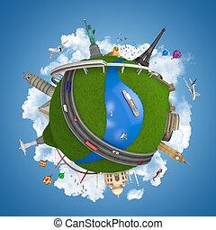 viagem mundial, conceito, globo, isolado