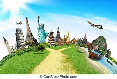 viagem mundial, conceito, monumento