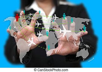viagem mundial, conceito, negócio, transporte