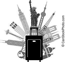 viagem mundial, ilustração, bagagem