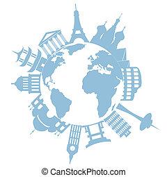 viagem mundial, marcos, e, monumentos