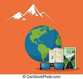 viagem mundial, planeta, cena, terra