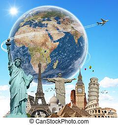 viagem, mundo, monumentos, conceito