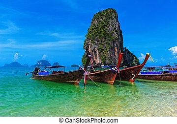 viagem, natureza, paisagem., tailandia, mar, custo, tropicais, fundo