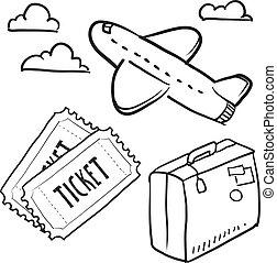 viagem, objetos, esboço, ar