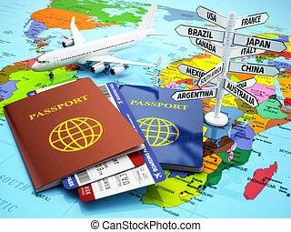 viagem, ou, turismo, concept., passaporte, avião,...