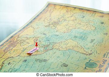 viagem, ponto, estados, unidas, américa, alfinete mapa