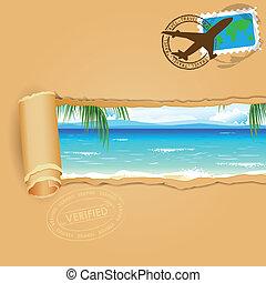 viagem, praia, fundo, mar
