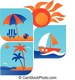 viagem, praia, verão, -1, ícones, mar