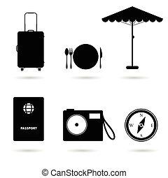 viagem, pretas, ilustração, ícone