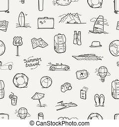viagem, seamless, mão, vetorial, fundo, desenhado, doodles