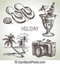 viagem, set., feriado, esboço, ilustrações, mão, desenhado