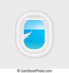 viagem, template., aeronave, avião, desenho, janela., vector., illuminator., porthole., avião, vista