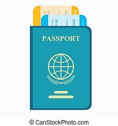 viagem, tickets., concept., passaporte, ar