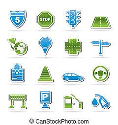 viagem, tráfego, estrada, ícones