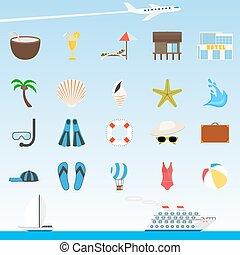viagem turismo, icons.