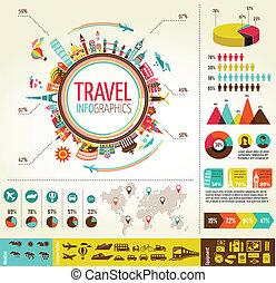 viagem turismo, infographics, com, dados, ícones, elementos