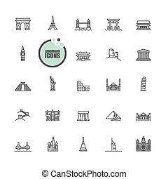 viagem turismo, localizações, marco, ícones