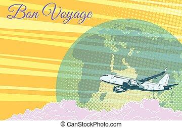 viagem, vôo, fundo, viagem, avião, retro, bon, turismo