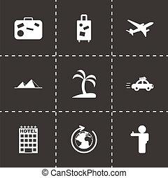 viagem, vetorial, pretas, jogo, ícones