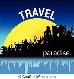 viagem, vetorial, silueta, pessoas