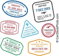 viagem, visto, selos