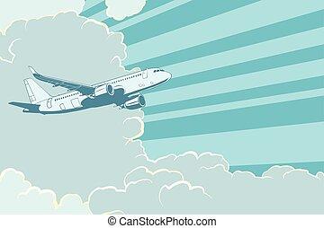 viagem, voando, ar, retro, fundo, avião, clouds.