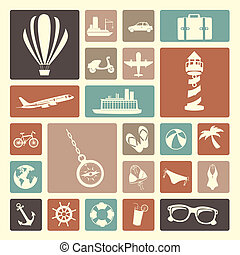 viagens, ícones
