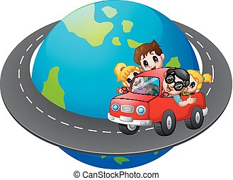 viagens, car, ao redor, família, mundo