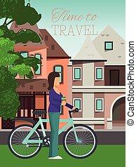 viagens, estilo vida, ao ar livre, activities., illustration., cidade, saudável, cartaz, concept., tempo, personagem, vetorial, água, experiência., mulher, femininas, bicicleta equitação, menina, garrafa, viagem