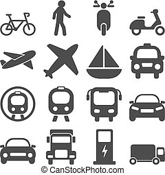 viagens, jogo, transporte, ícones