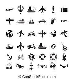 viagens, monocromático, ícones