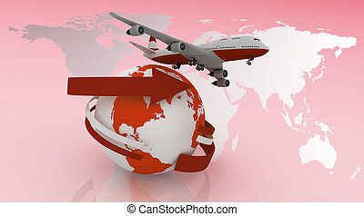 viaggi, passeggero, aeroplano, intorno