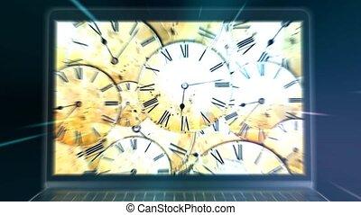 viaggiare, a, il, future., distorsione, di, time., computer,...